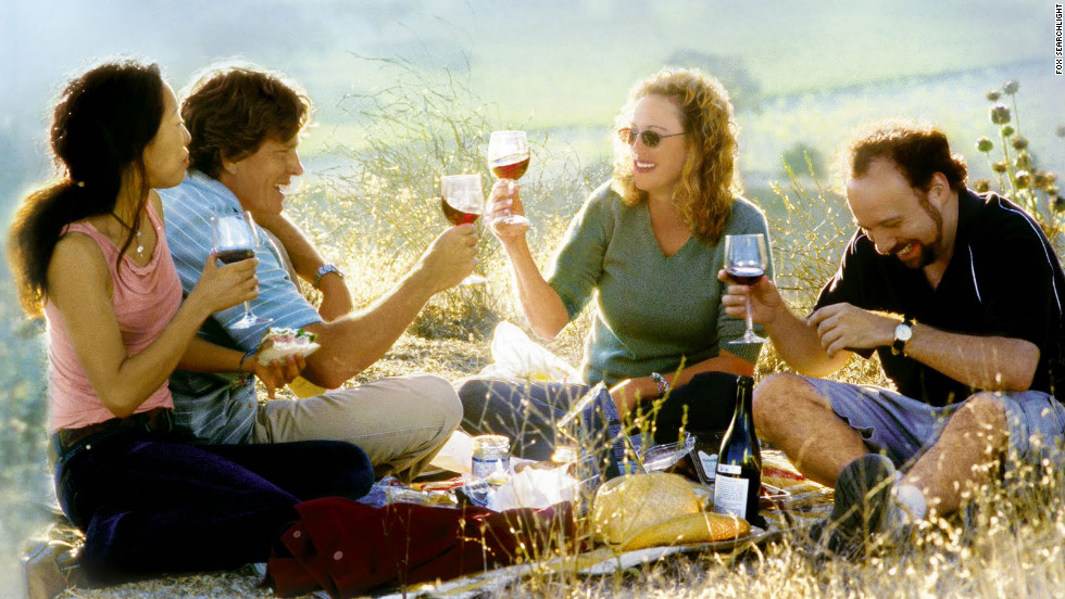 "<strong>""Sideways""</strong> (2004) offers a beautiful tour of Santa Barbara, California, wine country and a bumpy tale of relationships, particularly that of wine expert Miles (Paul Giamatti) and actor Jack (Thomas Haden Church), who take a car trip before Jack's wedding. <em>Lesson:</em> If you must drink, don't dial."
