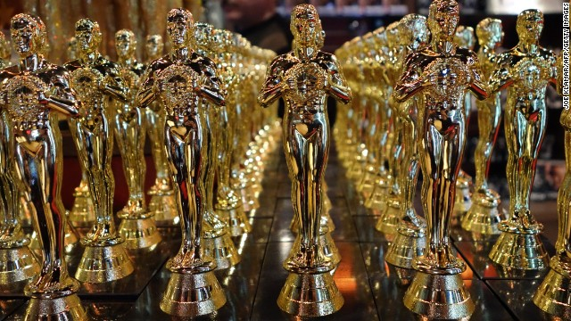 Oscar replicas are lined up in a Hollywood, California, souvenir shop.