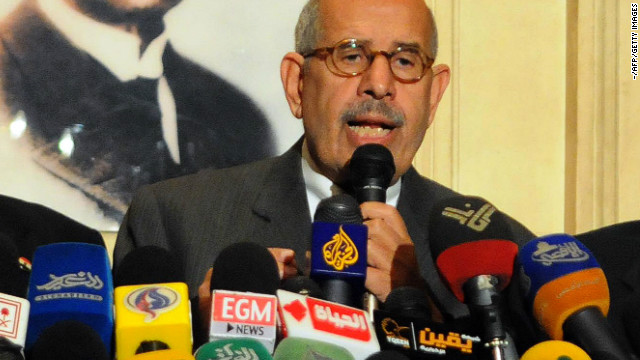 Egyptian opposition leader Mohamed ElBaradei is pictured at a press conference in Cairo on January 28.