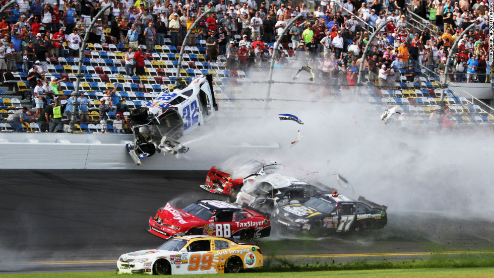 Larson's car went airborne after the initial impact.