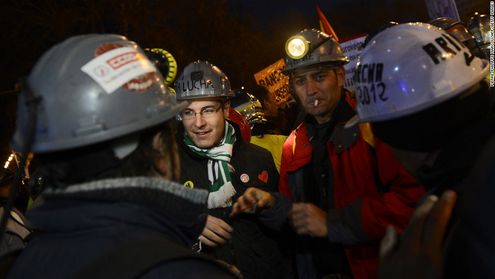 Public workers, small political parties and nonprofit organizations protest against government austerity on February 23 in Madrid.