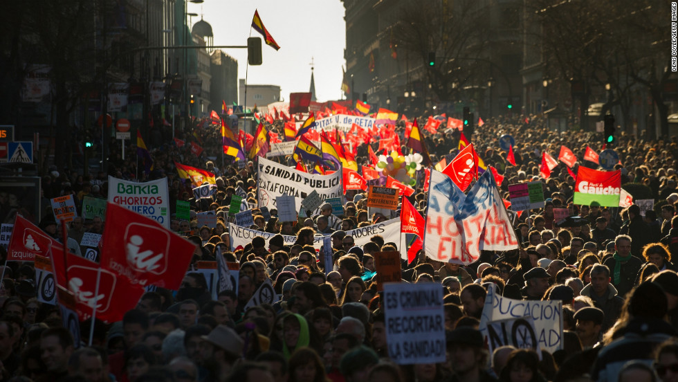 Demonstrators protest on February 23, in Madrid.