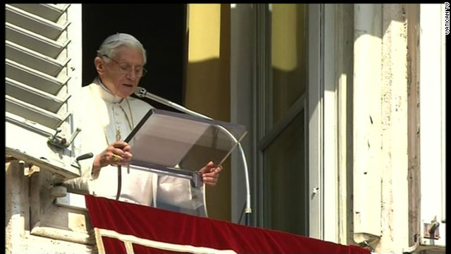 Pope Benedict XVI delivers his final public blessing on Sunday at St. Peter's Square in Vatican City.