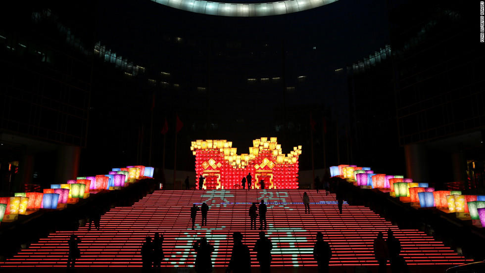 People visit a lantern show on February 23 in Beijing.