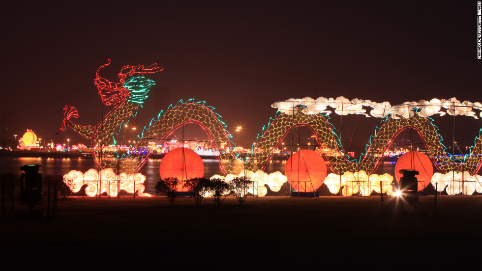 Lanterns and a dragon light the sky in Rizhao, China, on February 21.