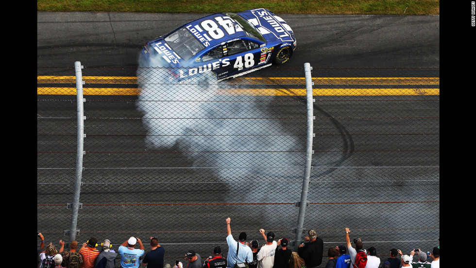 Jimmie Johnson celebrates his Daytona 500 win.