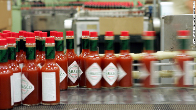 Tabasco sauce is bottled and labeled at the McIlhenny Co. on Avery Island, Louisiana.