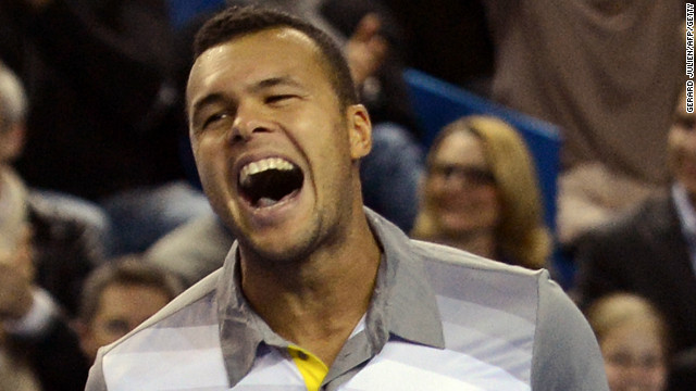 Jo-Wilfried Tsonga celebrates after closing out Tomas Berdych to win the Marseille Open title for the second time.