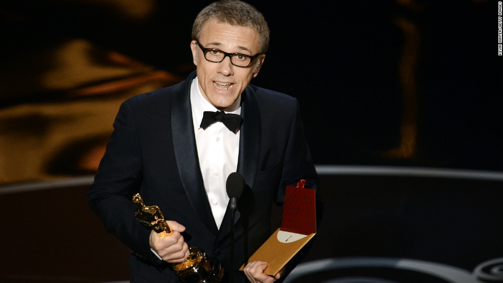 """<strong>Christoph Waltz, best supporting actor:</strong> """"Django Unchained"""" star Christoph Waltz graciously accepted his second Oscar on Sunday night, thanking both the writer-director, Quentin Tarantino, as well as his co-stars. """"We participated in a hero's journey,"""" Waltz said, """"the hero here being Quentin."""""""