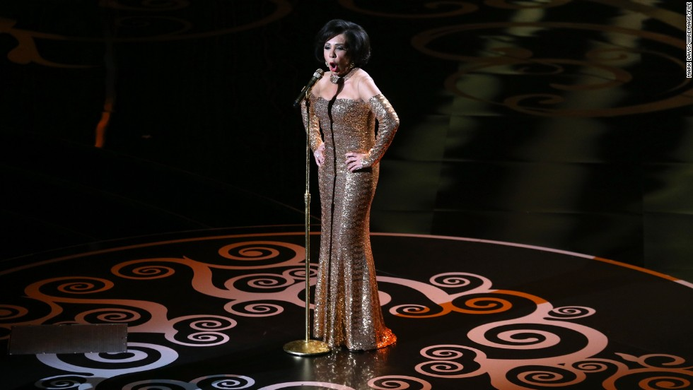 "Dame Shirley Bassey performs ""Goldfinger"" during a tribute to the James Bond franchise."