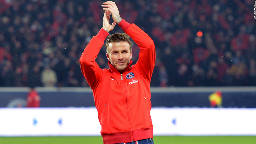 David Beckham received a rapturous reception from the 48,000 capacity crowd at the Parc des Princes.