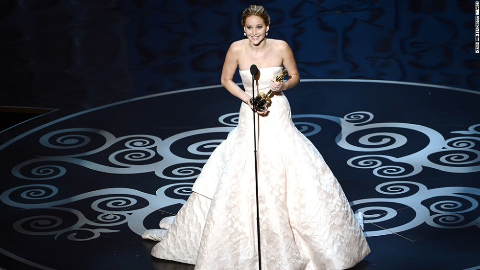 """""""You guys are just standing up because you feel bad that I fell,"""" Lawrence said in response to her standing ovation. She wished fellow nominee Emmanuelle Riva a happy birthday before leaving the stage."""