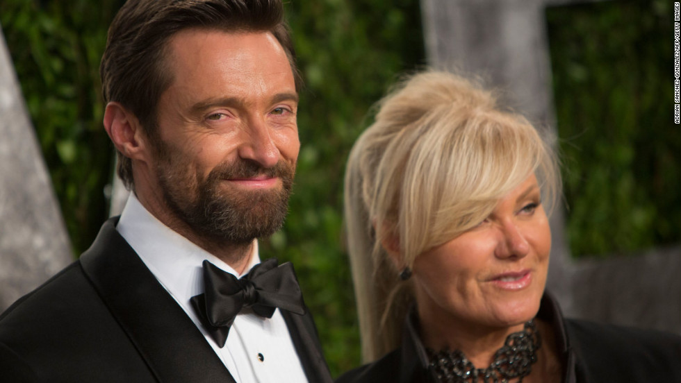Hugh Jackman and wife at the 2013 Vanity Fair Oscar party.