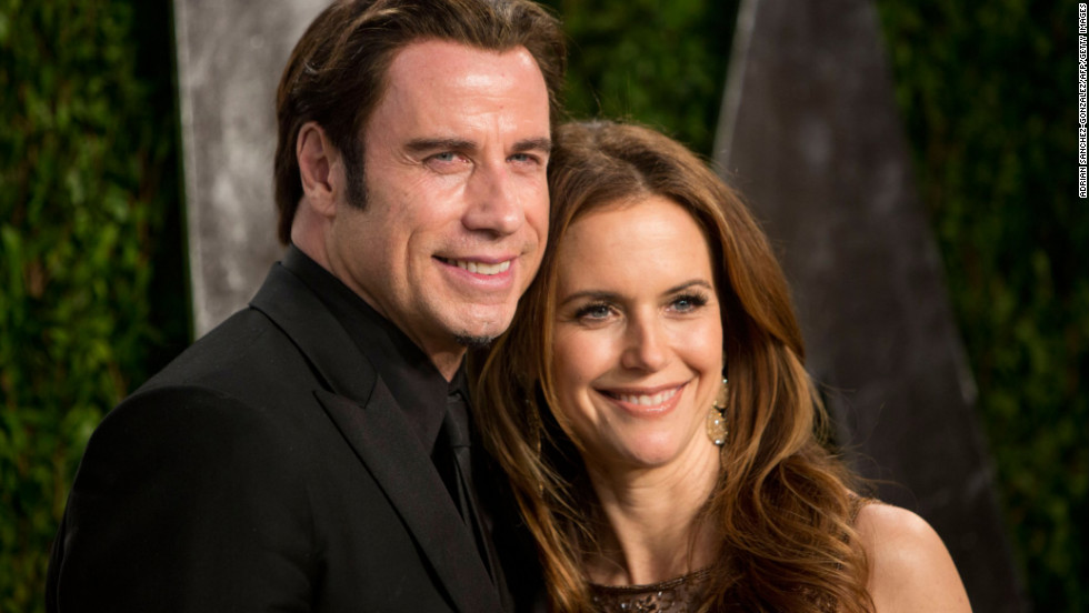 John Travolta and wife Kelly Preston at the 2013 Vanity Fair Oscar party.