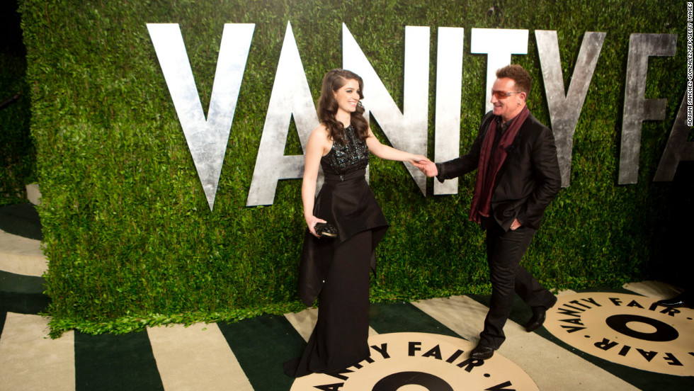 Bono and his daughter at the 2013 Vanity Fair Oscar party.