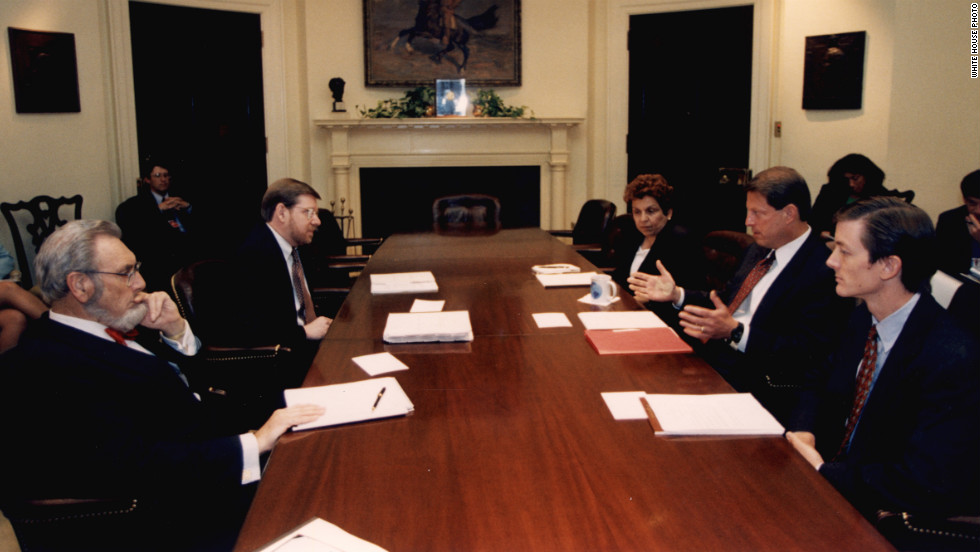 Koop and Vice President Al Gore, second from right, meet with administration officials to discuss a federal government settlement with the tobacco industry on July 9, 1997. The settlement was meant to recover part of the health care costs of smoking.
