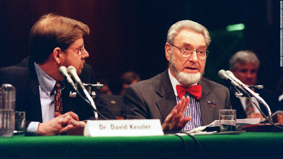 Sitting next to former FDA Commissioner David Kessler, Koop testifies at the hearing on tobacco settlement legislation on April 20, 1998. The settlement collapsed when Congress failed to enact its provisions that year.