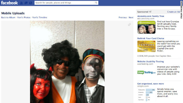 Dov Hikind, center, is seen in costume with his wife and son. The photo was obtained from what CNN believes to be his son Yoni's Facebook page.