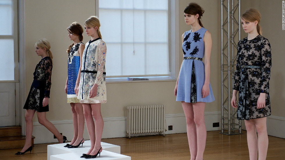 Models wear designs at the Huishan Zhang presentation during London Fashion Week Fall/Winter 2013/14 on February 18.