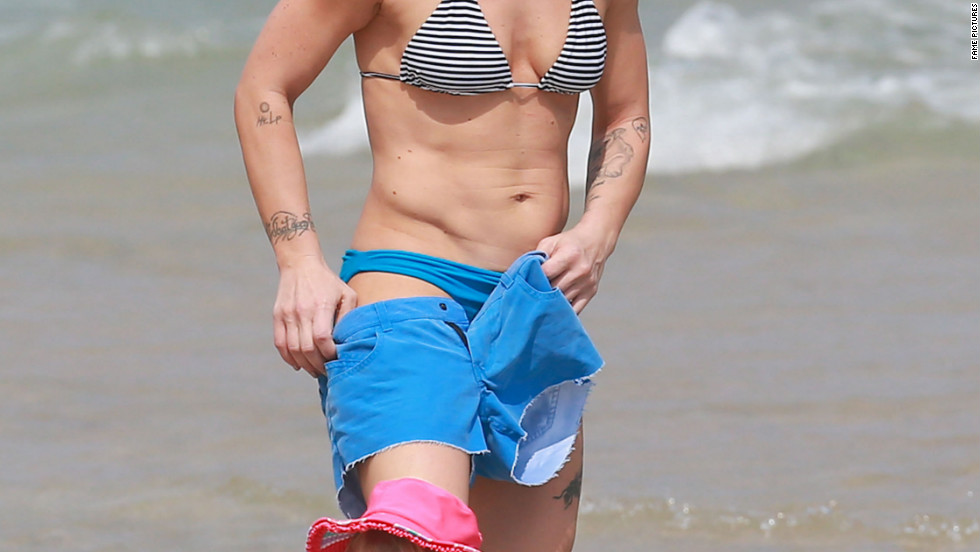 Pink spends time with her family on the beach in Miami, Florida.