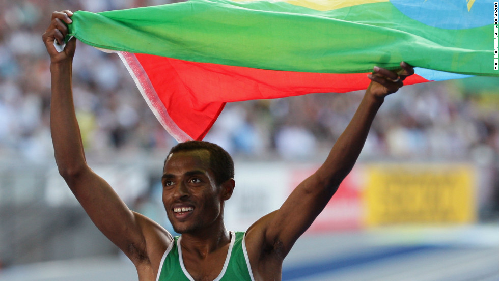 Kenenisa Bekele, who was also coached by Eshetu, is now the world record holder in the 5,000 meters and 10,000 meters. Here, he celebrates winning the gold medal in the 5,000 meters final at the IAAF World Athletics Championships in Berlin, Germany, in 2009.