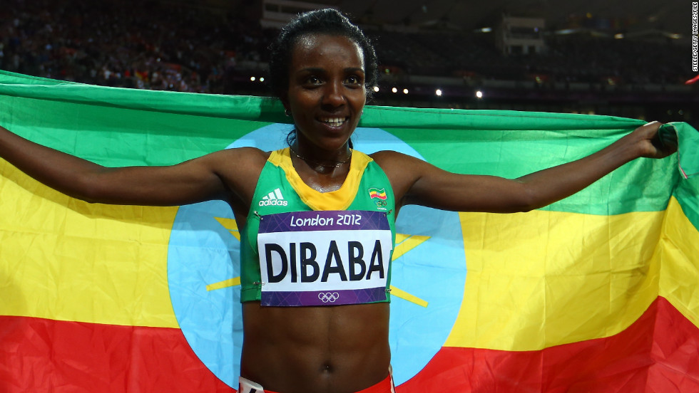 Amongst them is three-time Olympic champion Tirunesh Dibaba. Here, the Bekoji-born runner celebrates winning gold in the 10,000 meters at the London 2012 Olympic Games.