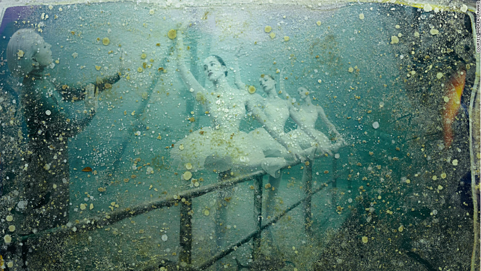 "After four months sitting at the bottom of the Gulf of Mexico, the photos became discolored with salt stains and algae. ""The sea life had created new images. It's very cool, they almost look like Polaroids,"" said Franke."