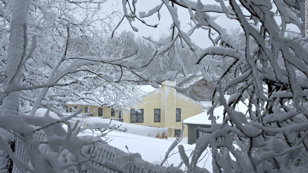 Wet snow hangs on branches on February 26 in Merriam, Kansas.