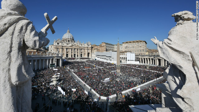 The faithfull fill St Peter's Square ahead of Pope Benedict XVI final general audience before his retirement on February 27, 2013 in Vatican City, Vatican.