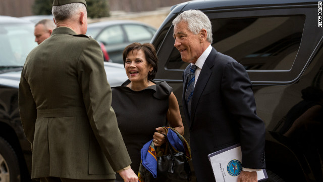 New Defense Secretary Chuck Hagel will receive a briefing from the Joint Chiefs of Staff.