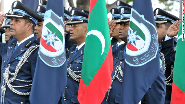 A file image of Maldives police marking the 79th anniversary of the Maldives police service in Male, March 29, 2012.
