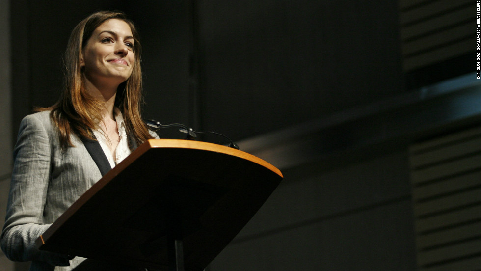 "Hathaway addresses the ""Adolescent Girls Initiative: Where We Are"" event in Washington in October 2010."