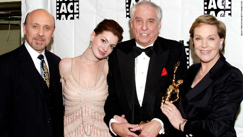 "Many fans discovered Hathaway in the 2001 Disney film ""The Princess Diaries."" From left, Hector Elizondo, Hathaway, director Garry Marshall and Julie Andrews at the American Cinema Editors'  ACE Eddie Awards in 2004 in Beverly Hills, California."