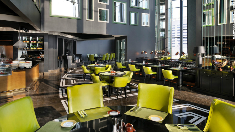 The JW Marriott Marquis Dubai features several dining options, including La Farine, a 24-hour French bistro and bakery.