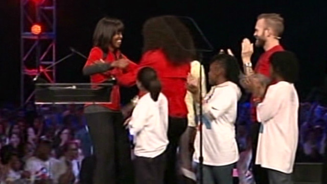 First lady, athletes fight child obesity