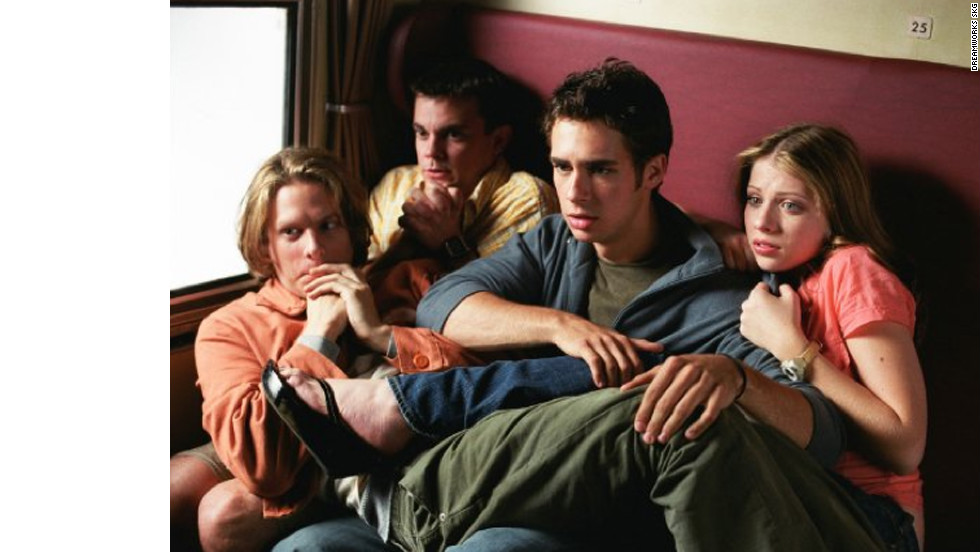 "Scott Mechlowicz, second from right, Jacob Pitts, left, Michelle Trachtenberg, right, and Travis Wester play four friends on a European adventure the summer before college in ""EuroTrip."" Matt Damon makes a cameo as a musician, introducing the film's catchy theme song,<a href=""http://www.youtube.com/watch?v=0Vyj1C8ogtE"" target=""_blank""> ""Scotty Doesn't Know.""</a>"