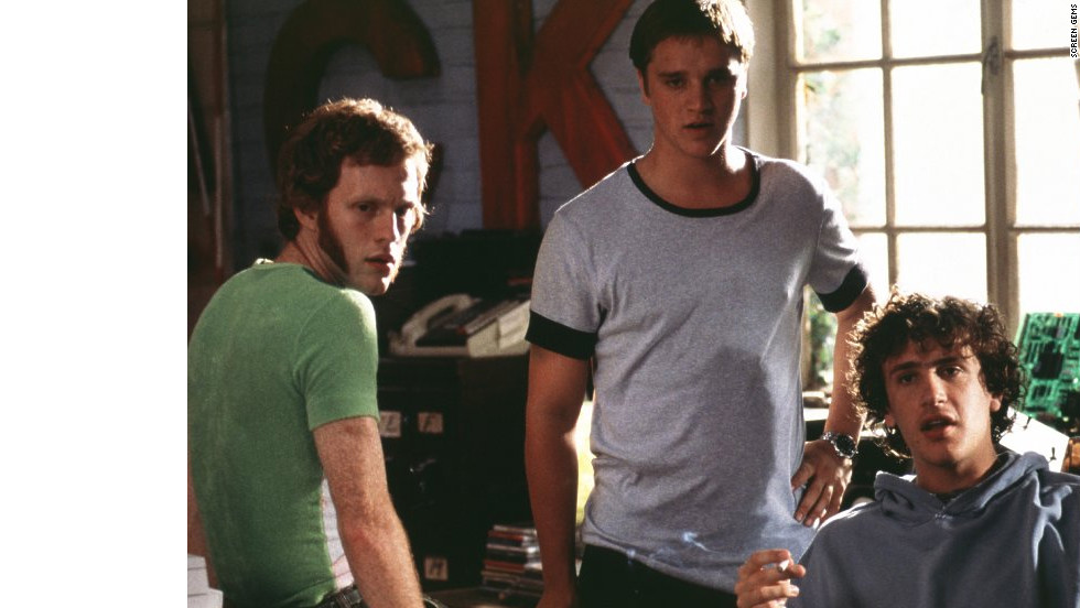 "Michael C. Maronna, left, Devon Sawa, center, and Jason Segel star as resourceful cheaters in Dewey Nicks' ""Slackers."" But when the men are found out by Jason Schwartzman's <a href=""http://www.youtube.com/watch?v=tZ9vcNJ_Ros"" target=""_blank"">Cool Ethan</a>, they're forced to set him up with the prettiest girl in school (Jaime King) to keep him from outing them to the administration."