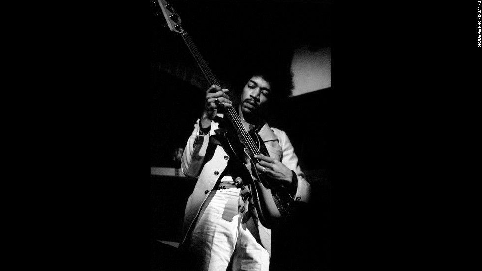 "<strong>Hendrix jams at The Scene club in New York in 1968:</strong><br />""Jimi showing his prowess as an all-round musician playing Noel (Redding)'s bass upside down accompanying jazz guitarist Larry Coryell at The Scene club, which he used as his own personal rehearsal space trying out new ideas, testing musicians and making selections for possible inclusion in the recording of 'Electric Ladyland' just around the corner at the Record Plant on 44th Street.""  --<em> Eddie Kramer</em>"