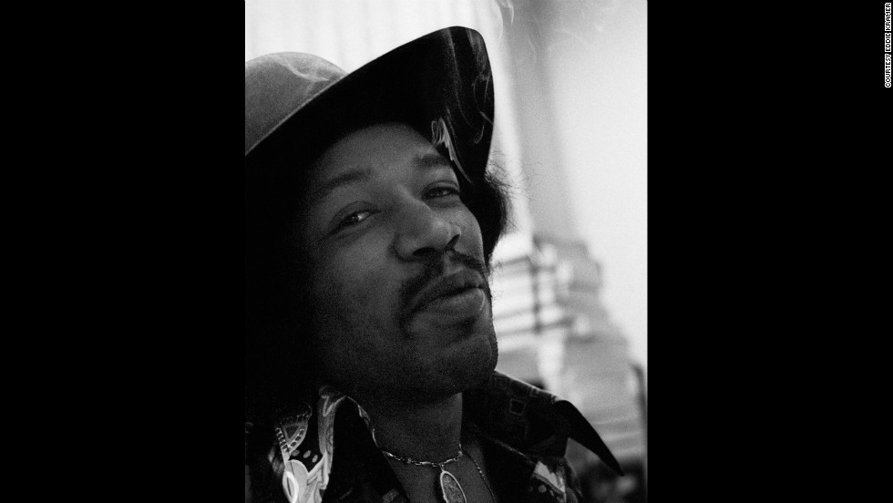 "<strong>Hendrix records ""Electric Ladyland"" at the Record Plant in 1968:</strong><br />""Even though Jimi smoked grass he was never too stoned to work diligently and with tremendous focus on the task at hand.  He had just smoked a huge joint and was very happy and gave me a knowing smile, which I call the glint in the eye."" --<em> Eddie Kramer</em>"