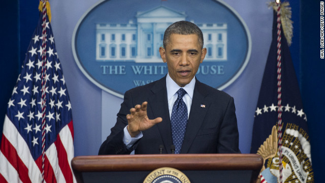 US President Barack Obama speaks to the media about sequestration in the Brady Press Briefing Room at the White House in Washington on March 1, 2013 following a meeting with US Speaker of the House John Boehner and Congressional leaders.