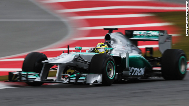 Nico Rosberg was the fastest man on the track at the final day of testing at Barcelona Sunday.