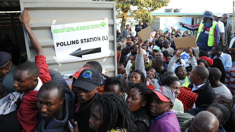 Kenyans in the Dandora neighborhood of Nairobi wait to vote at James Gichuru Primary School on March 4, 2013.