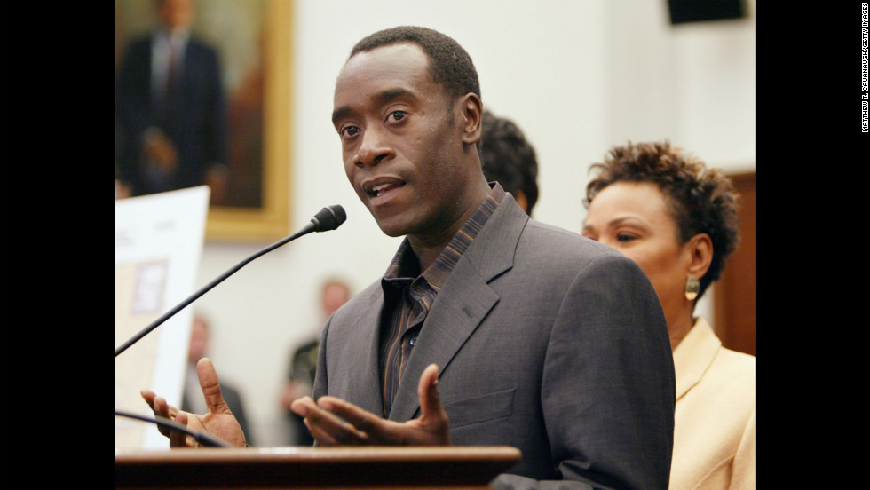 Actor Don Cheadle has been a prominent activist for the end of genocide in Darfur. Along with fellow actors Clooney and Brad Pitt, Cheadle helped start the Not On Our Watch Project, an organization focused on preventing mass atrocities. Cheadle was named U.N. Environment Program Goodwill Ambassador in 2010.