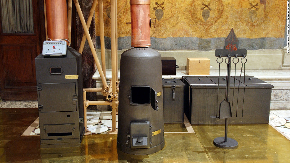 When the cardinals vote to elect the next pope, they burn their ballots. Here, furnaces sit ready in the Sistine Chapel on April 16, 2005.