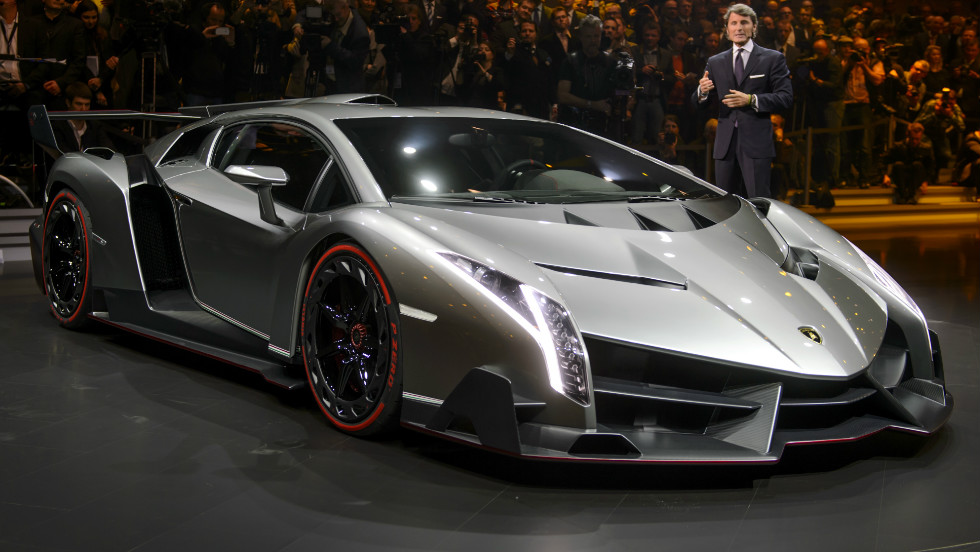 "The Lamborghini Veneno -- meaning ""Venom"" in English -- has a top speed of 220 miles per hour and is crafted from carbon fiber."