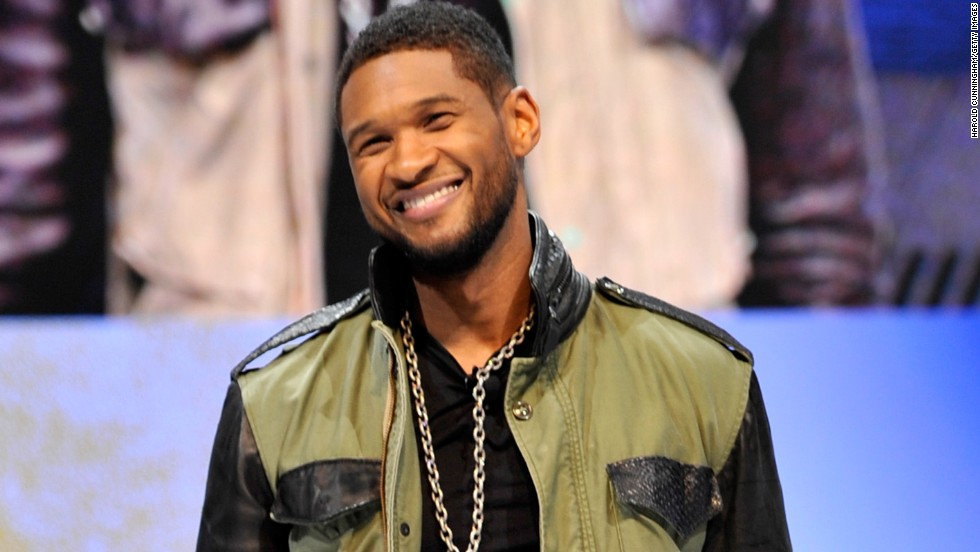 Usher attends an event in Geneva, Switzerland.