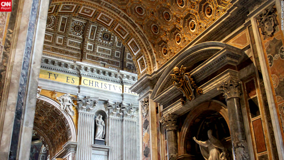 "St. Peter's Basilica draws tourists from across the world each day. ""What a history and ... importance to the world,"" <a href=""http://ireport.cnn.com/docs/DOC-815380"">iReporter James Amerson</a> says."