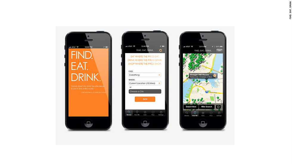 Find.Eat.Drink provides foodie tips in cities across the U.S., curated by top chefs and other culinary professionals.