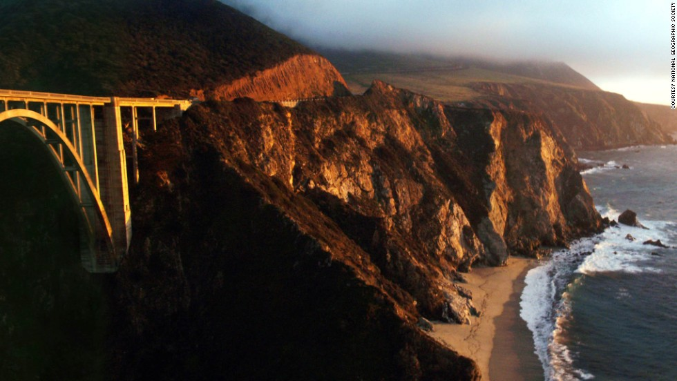 The drive crossing through Big Sur requires a strong stomach, but the rewards are worth it. Visitors can stop at Sea Lion Point Trail, the Whalers Cabin Museum and the redwood trees at Julia Pfeiffer Burns State Park. The Bixby Creek Bridge shown here is one of the world's highest single-span bridges (at 260 feet).