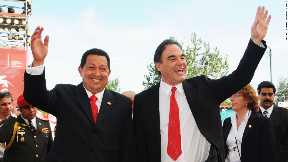 "Director Oliver Stone and Chavez attend the ""South of the Border"" premiere during the 66th Venice Film Festival on September 7, 2009, in Venice, Italy."